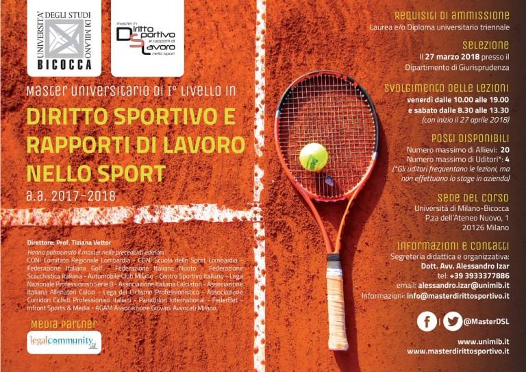 Master Diritto Sportivo 2018
